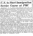 62. Article- U.S. to Start Immigration Service Course at PMC